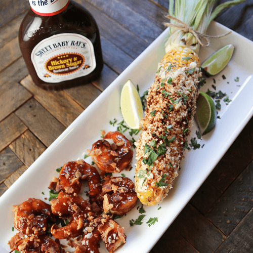 Sweet Baby Rays BBQ Shrimp and Mexican Corn