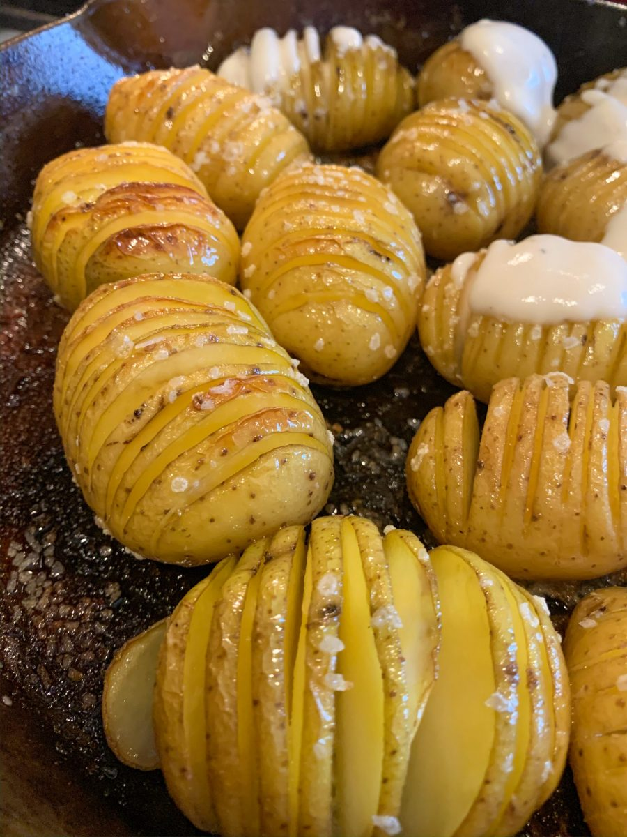 Cooked hasselback potatoes