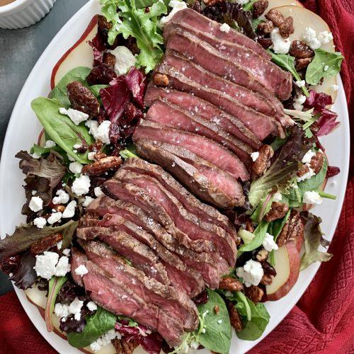 Flat iron steak salad with honey balsamic dressing