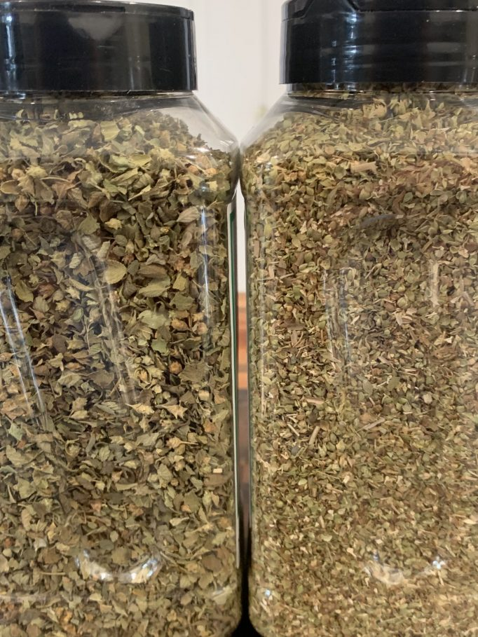 Mexican oregano on the left Mediterranean on the right