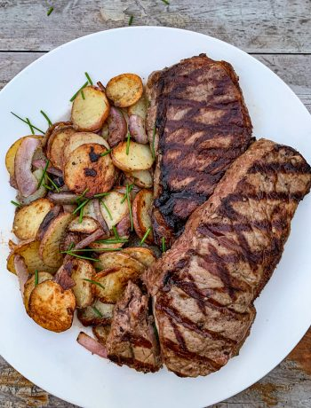 Grilled strip steaks