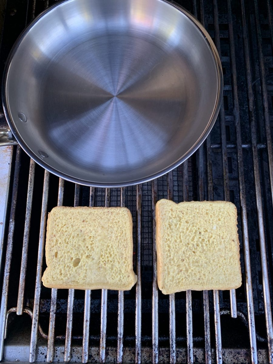 French toast directly grilled on the grill grate