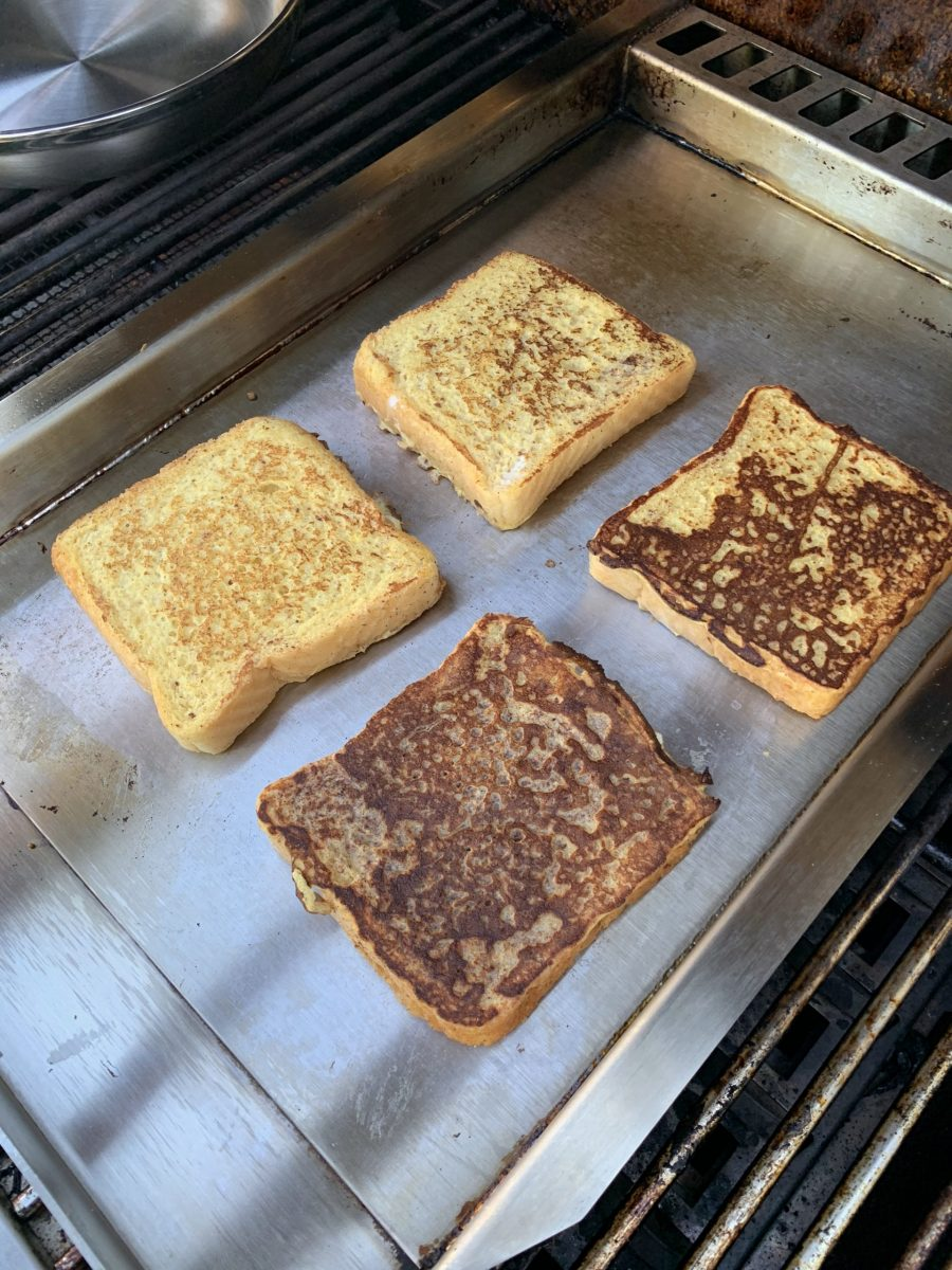 French toast on a griddle on the grill surface of the Aspire by Hestan grill
