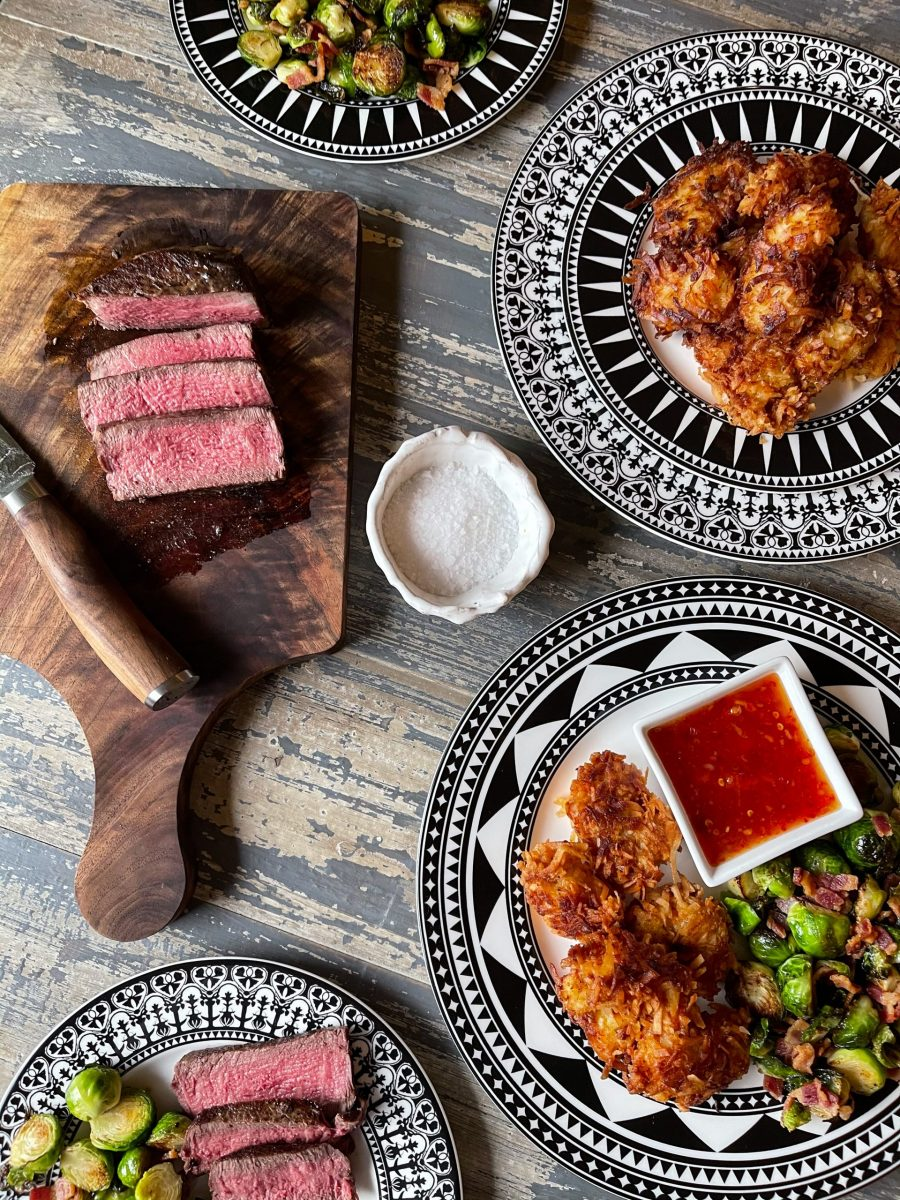 Filet Mignon and Coconut Shrimp with Dipping Sauce