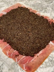 Gently Press Duxelles on Prosciutto