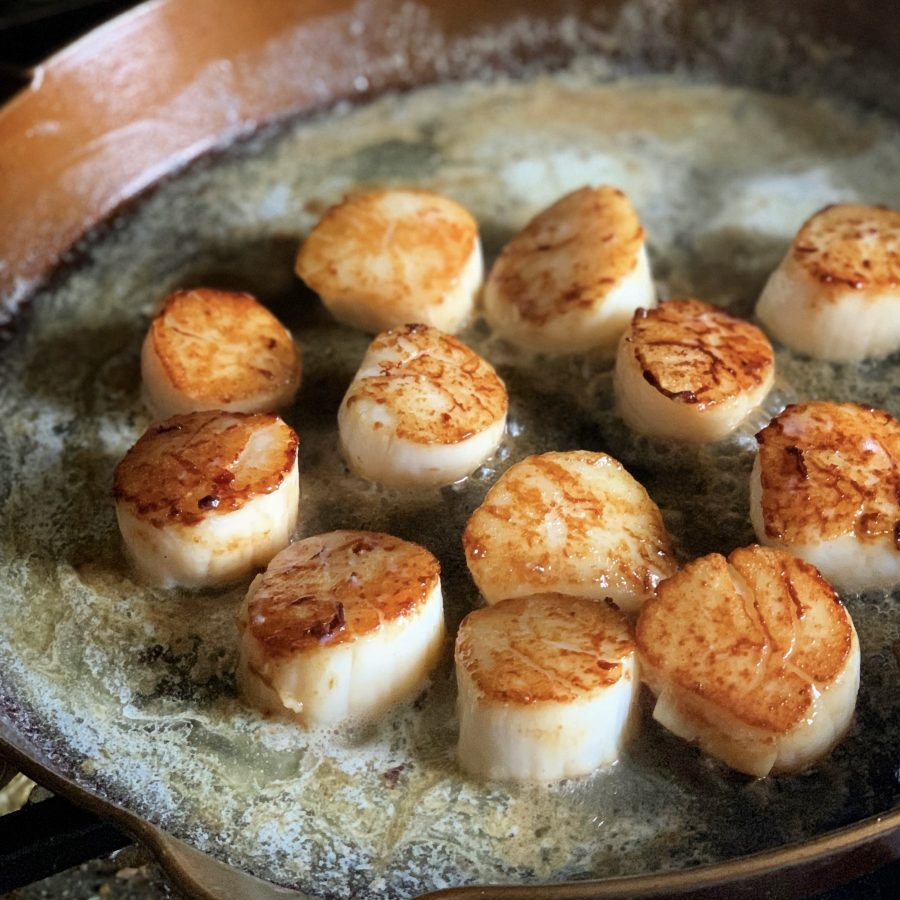 Sea Scallops Cooked in Cast Iron