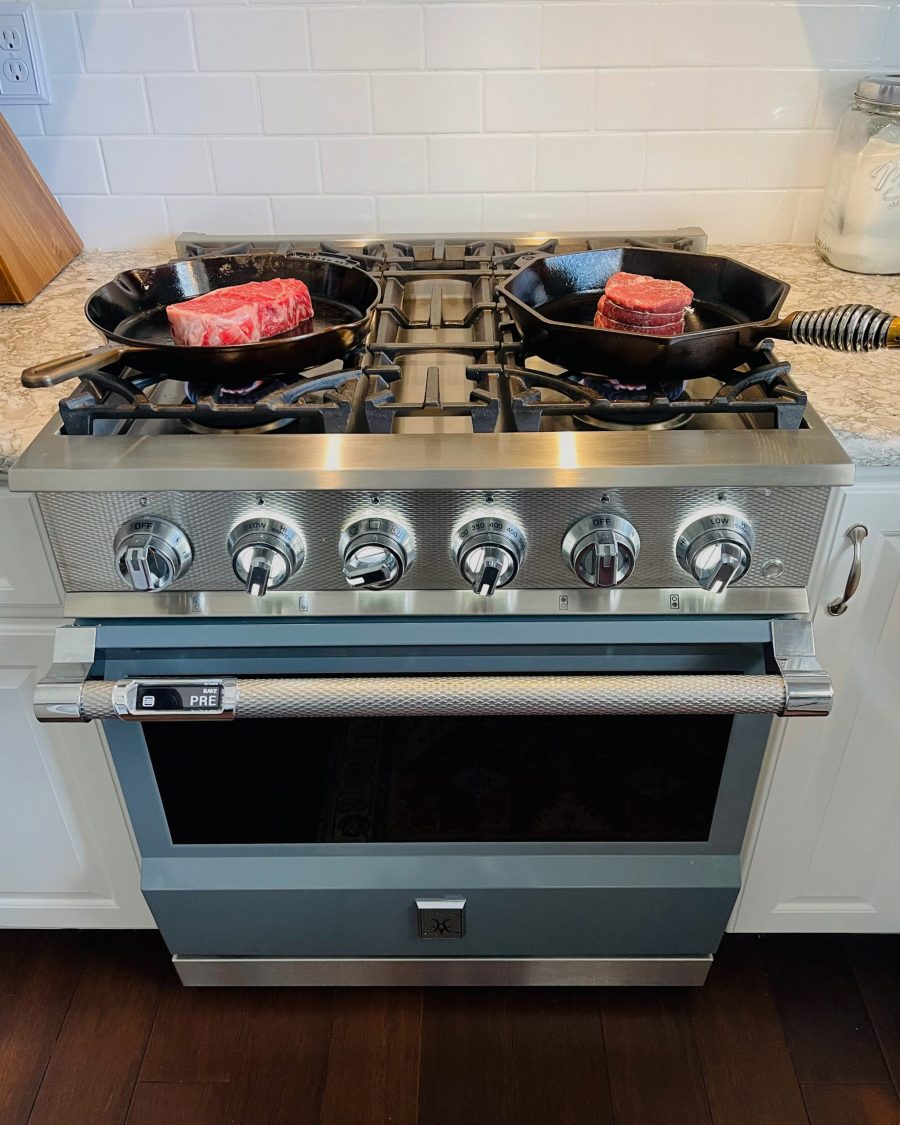 Cooking Steaks in Cast Iron On My Dual-Fuel Range by Hestan