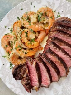 Strip Steak and Shrimp Scampi Surf and Turf