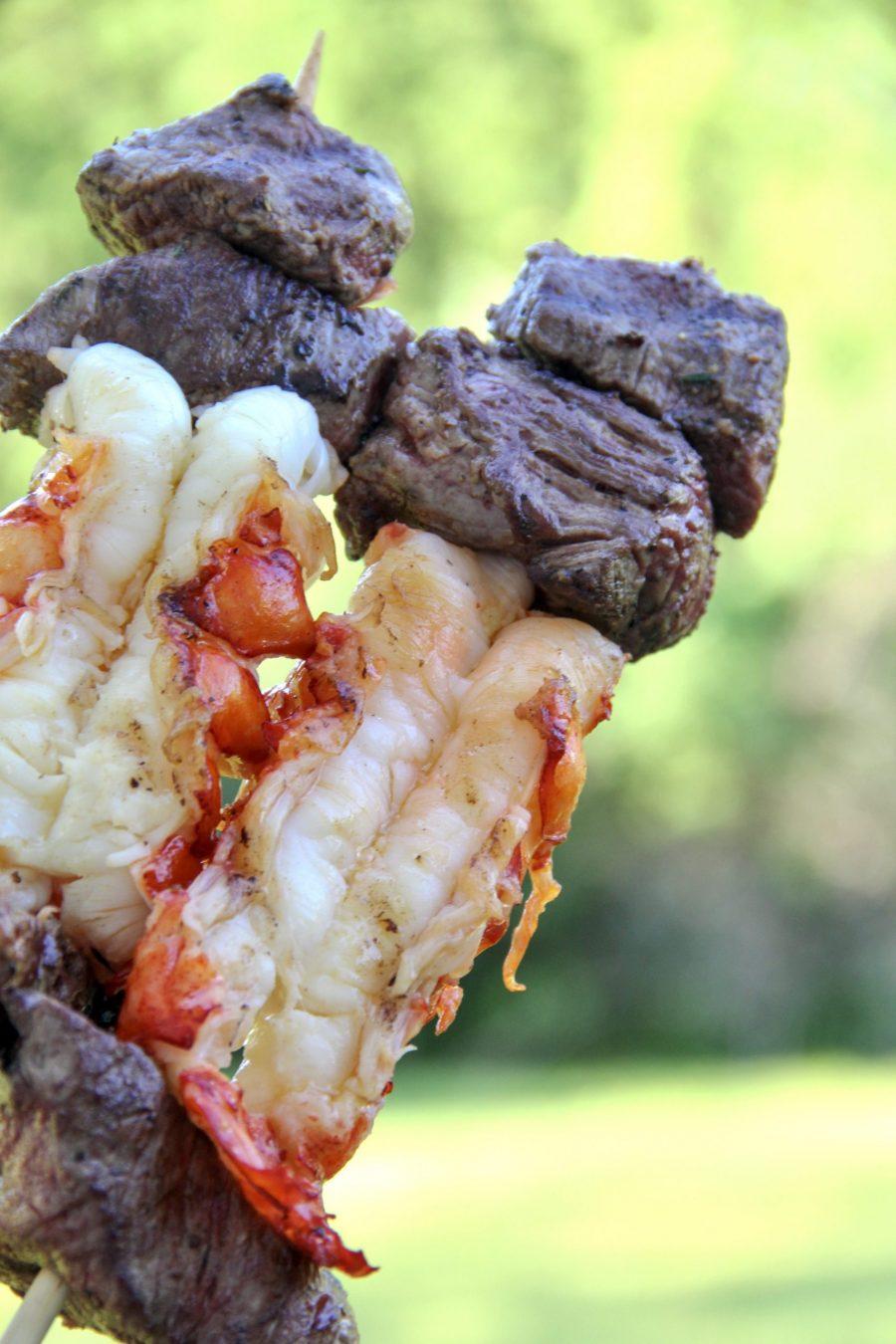Steak and Lobster Kebabs