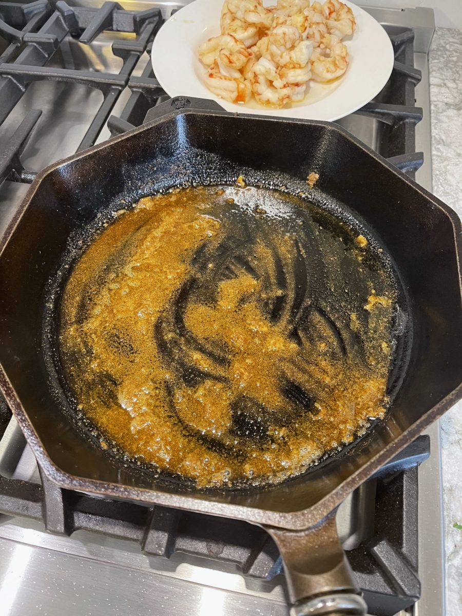 Cooking spices in skillet
