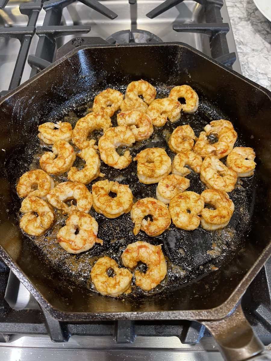 Picture of finishing cooking shrimp