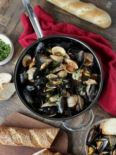 Clams and Mussels in Wine and Tomato Broth