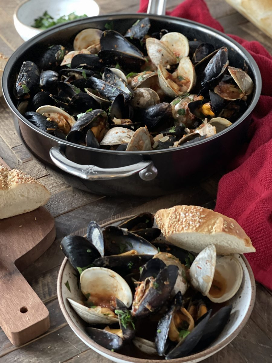Clams and Mussels in Wine and Tomato Broth in Hestan Nanobond Essential Pan