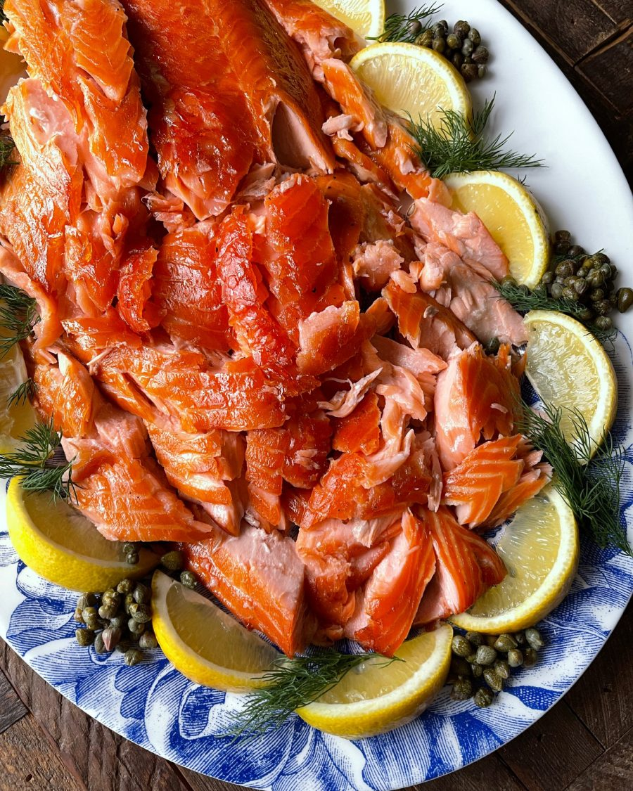 Picture of smoked salmon with lemon and capers