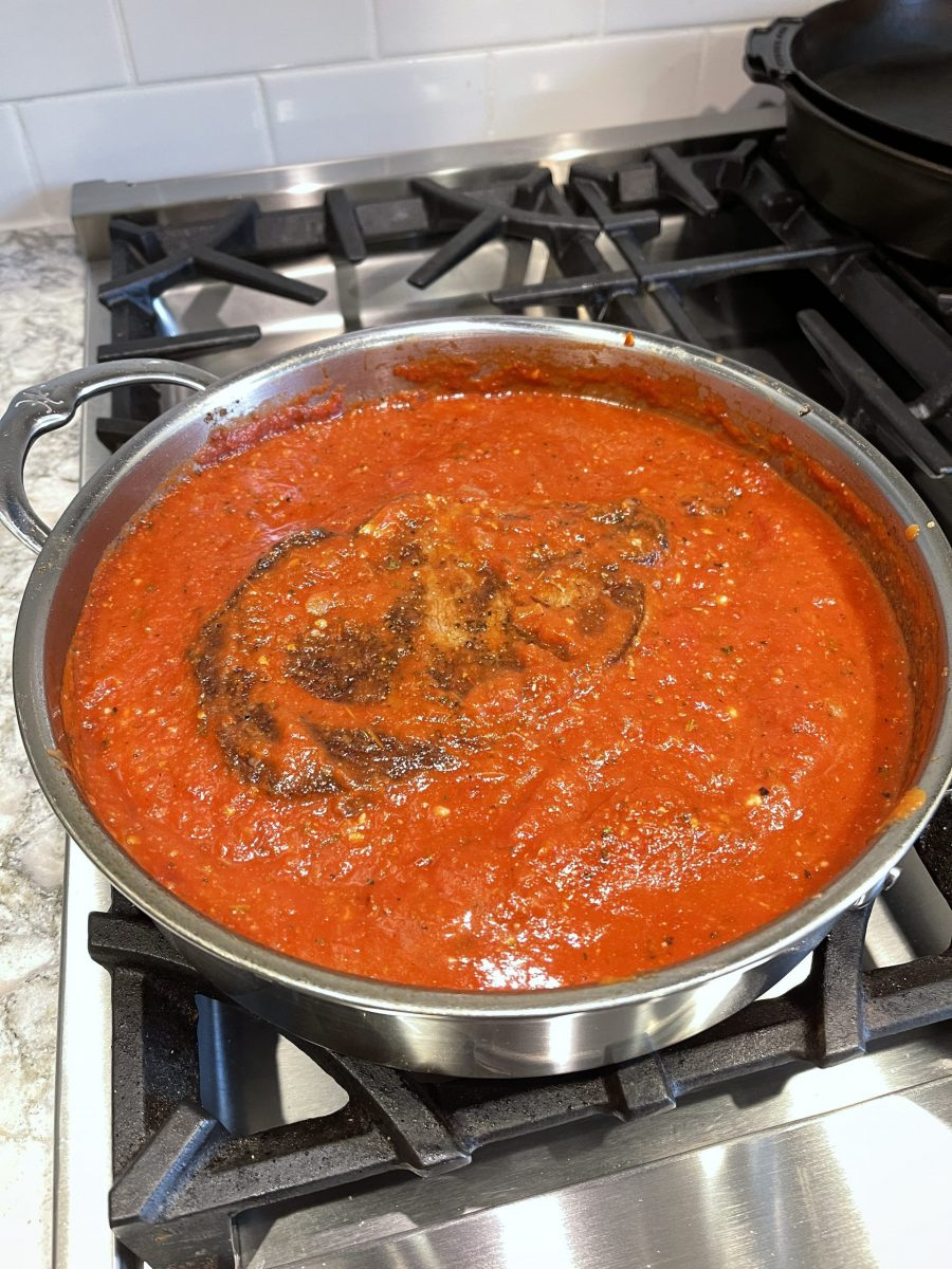 Picture of Simmering The Steak In The Tomato Sauce