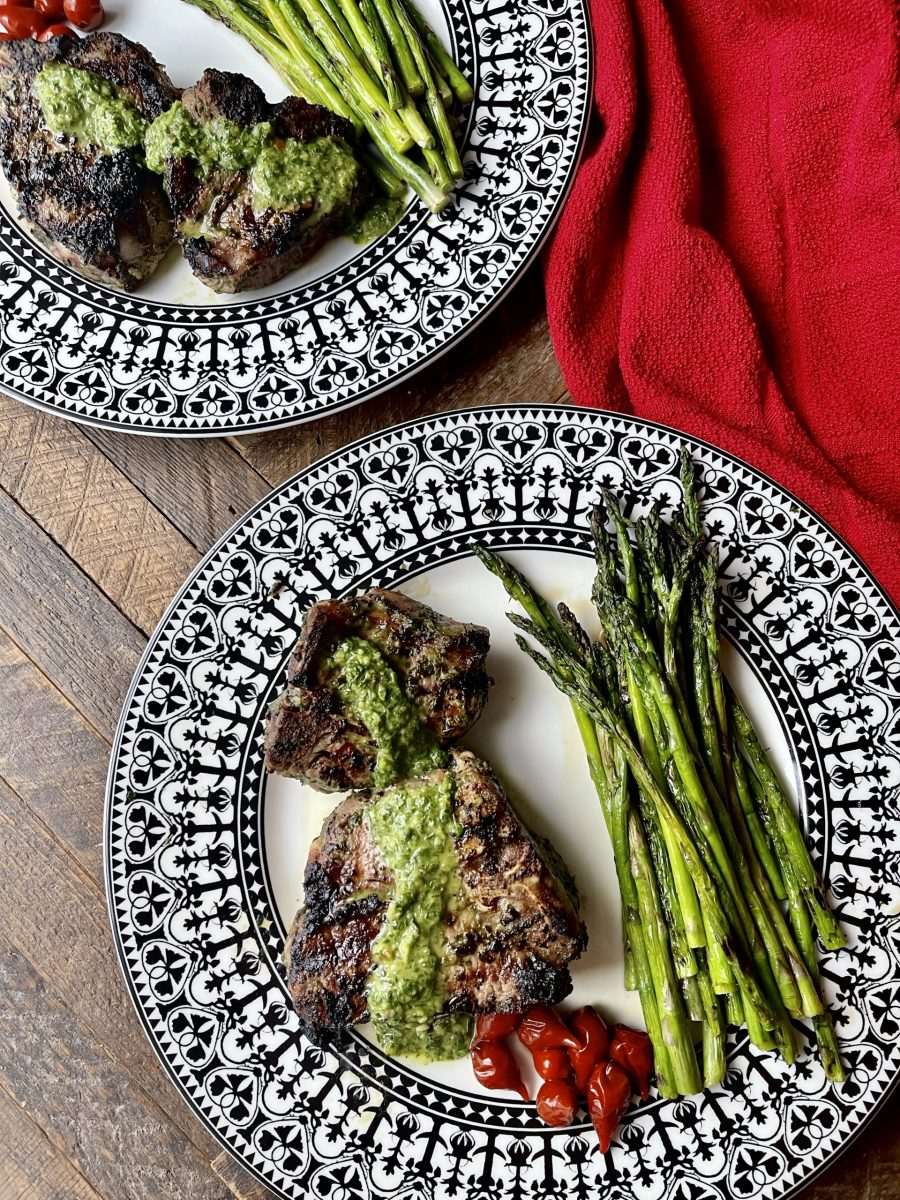 Grilled Chimichurri Lamb Chops With Grilled Asparagus