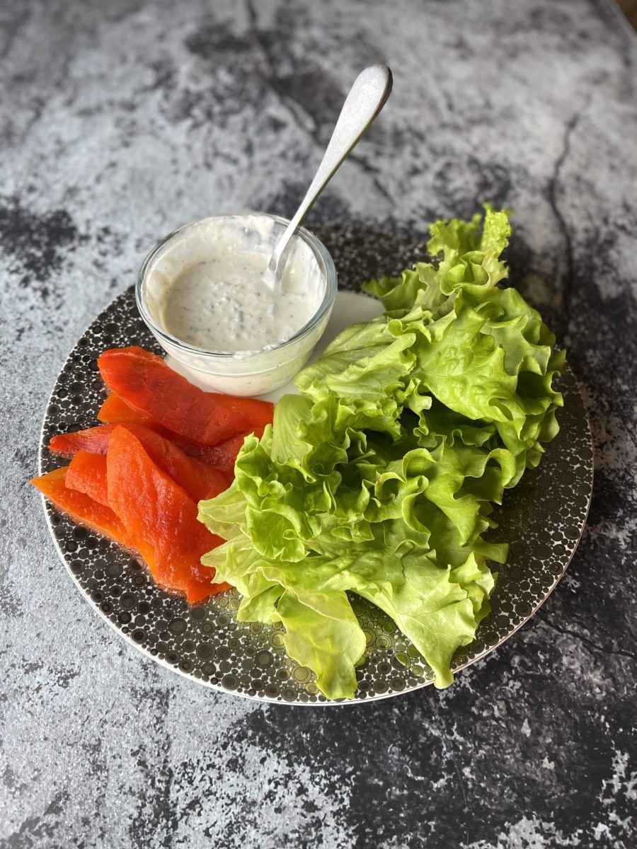Horseradish Sauce, Roasted Red Peppers And Lettuce For The Grilled Steak Sandwiches